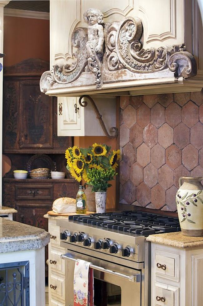 terracotta backsplash